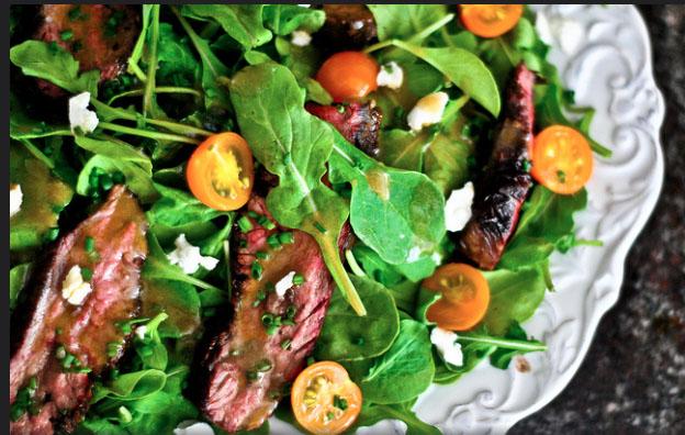 salad & steak